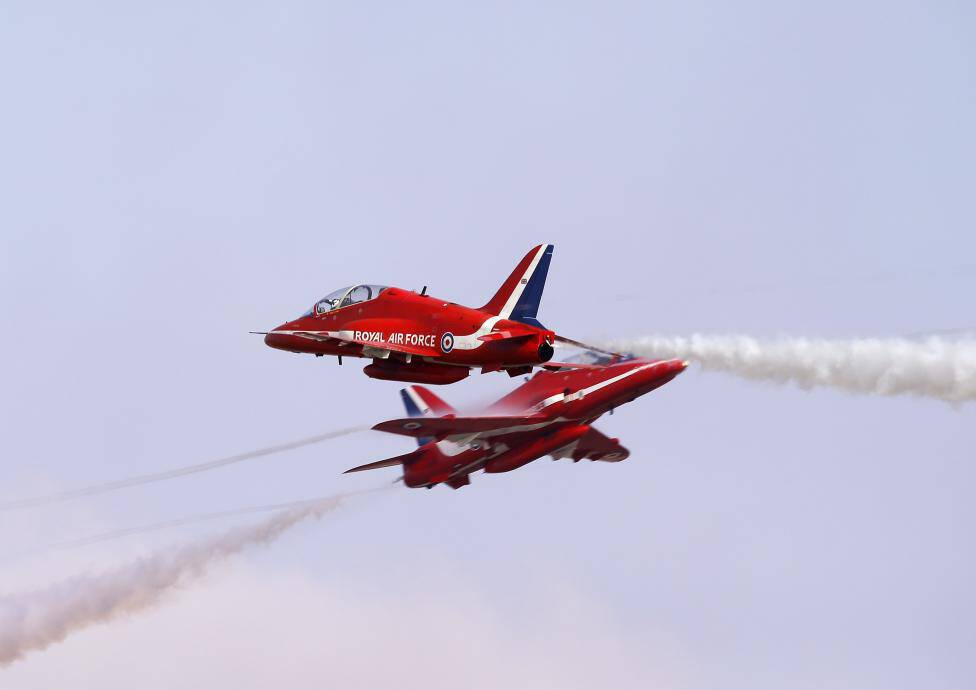 The British Royal Air Force Aerobatic Team performs at the Malta International Airshow 2013, outside Valletta