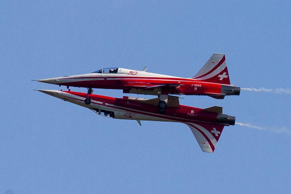 Northrop F-5E Tiger II aircraft of Swiss Air Force perform during opening of ILA Berlin Air Show in Selchow