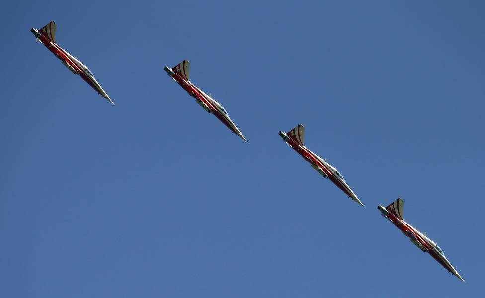 Switzerland's Air Force national flight team Patrouille Suisse performs in their F-5E Tiger II aircrafts near Niederurnen
