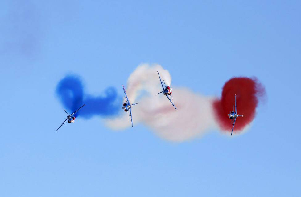 Alpha jets of Patrouille de France perform during the Malta International Airshow